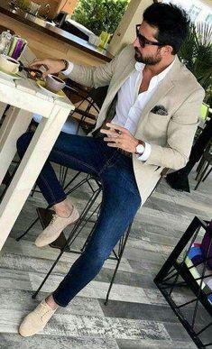 35 Men's Fashion Ideas Formal with Leather Shoes - Mens fashion suits - Herren- und Damenmode - Kleidung Blazer Outfits Men, Mens Fashion Blazer, Stylish Mens Outfits, Suit Fashion, Style Fashion, Blazer Jeans, Casual Outfits, Fashion Dresses, Beige Blazer