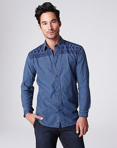ShopStyle: Embroidered Chambray Shirt