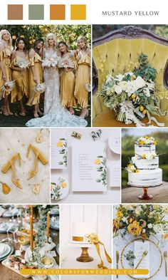 Mustard yellow and greenery wedding color ideas Mustard Wedding Theme, Mustard Yellow Wedding, Yellow Grey Weddings, Sage Green Wedding, Wedding Themes, Our Wedding, Dream Wedding, Rustic Wedding, Wedding Ideas