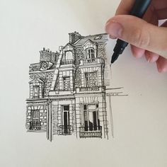 It's nice to be drawing again!  #art #drawing #pen #sketch #illustration #architecture #france #paris #townhouse