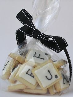 Wedding Favours - Scrabble tile letters wrapped with ribbon