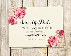 Printable Wedding Save the Date Invitation - pink flowers Diy Save the Date
