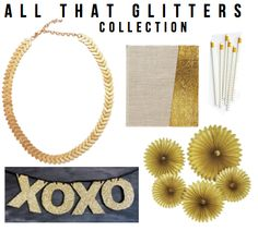 ALL THAT GLITTERS: necklace, glitter banner, journal, gold dot pencils & tissue rosettes