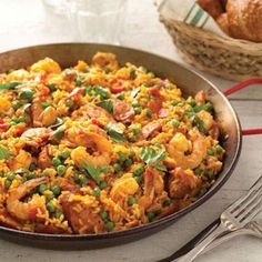 Shrimp and andouille paella