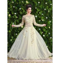 Charming Designer Snowwhite Gown in White Color