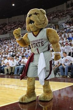 Mississippi State Bulldogs mascot Bully cheers on MSU at the Hump.