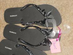 DIY Flip Flops for my Bridesmaids :  wedding black bridesmaid gift 1 bridesmaids diy flip flops reception rhinestones ribbon shoes Flips
