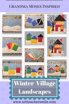 great elementary art lesson on shape and collage- going to use with Kindergarten! Winter Village Elementary Art inspired by Grandma Moses - Art Teacher Smile Grandma Moses, Kindergarten Art Lessons, Art Lessons Elementary, Winter Art Kindergarten, Collage, January Art, December, Winter Art Projects, School