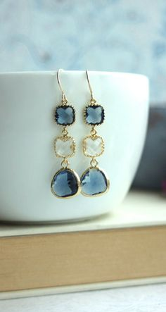 Sapphire Blue, Navy Blue, Clear Glass Earrings. Dark Blue Gold Framed Glass Drop Dangle Long Earrings. Something Blue. Modern Blue Wedding Bridesmaid Gift. By Marolsha.