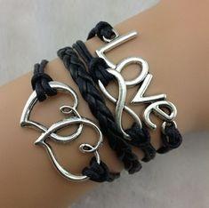 3pcs Love bracelet, infinity bracelet, heart to heart bracelet, leather rope bracelet bangle weave with extension chain, b31 $4.86