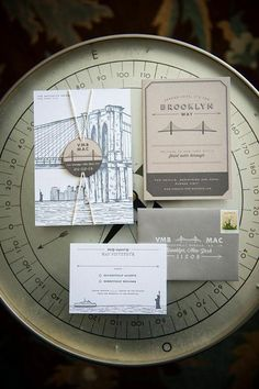 A Brooklyn-themed invitation suite from @swisscottage | Brides.com