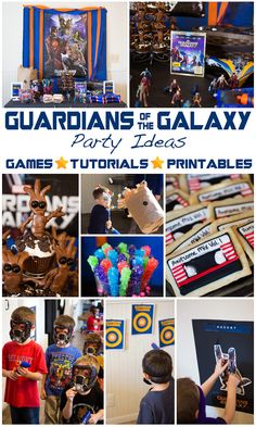 Guardians of the Galaxy Party Ideas: Pin the Rocket on Rocket Raccoon, Star Lord Target Practice, Baby Groot Cupcakes and Guardians of the Galaxy Mix Tape Cookies, Guardians Of The Galaxy, Boy Birthday Parties, Birthday Ideas, 4th Birthday, Galaxy Theme, Rosalie, Superhero Party, Astronaut Party, Baby Groot