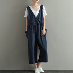 Womens Summer Retro Linen Jumpsuits Overalls Pants With Pockets, Womans Elegance Jumpsuits Pants, Loose Pants, Casual Pants For Lady by hodoostory on Etsy https://www.etsy.com/listing/472142208/womens-summer-retro-linen-jumpsuits