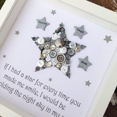 Star Button Art ~ Personalised Framed Star ~ Gifts for Boys ~ Boys Bedroom Decor ~ Button Art ~ Newborn Gift ~ Personalised Gift ~ New baby is part of Button crafts For Boys This beautiful star with - Craft Gifts, Diy Gifts, Handmade Gifts, Personalised Baby Gifts, Personalised Frames, Button Art, Button Crafts, Nursery Wall Art, Nursery Decor