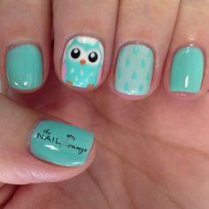 Cute Owl cartoon nail art design @the_nail_lounge_miramar