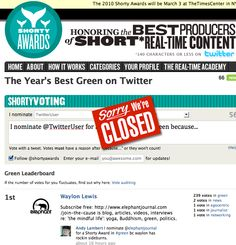 "@elephantjournal wins national 2010 Twitter national Shorty Award in ""Green."" ~ Jan 26, 2010"