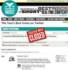 "@elephantjournal wins national 2010 Twitter national Shorty Award in ""Green."" ~ Jan 26, 2010"