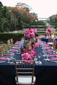 Table Setting - Navy & Pink Shower