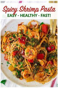 Spicy Shrimp Pasta Fast and Healthy Shrimp Spaghetti Recipe spaghetti recipe - Dinner Recipes Spicy Shrimp Pasta, Shrimp Spaghetti, Spicy Shrimp Recipes, Shrimp Recipes For Dinner, Spaghetti Squash, Shrimp Tacos, Seafood Recipes, Spaghetti Sauce, Drink Recipes