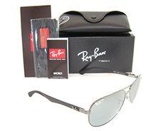 Ray-Ban Carbon Fibre RB 8313 004/k6 61mm Shiny Gunmetal/blue Mirror Polarized