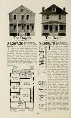 "Aladdin homes ""built in a day"" : catalog no. Apartment Plans, Apartment Living, Flat Plan, Vintage Housewife, Vintage House Plans, Duplex House Plans, Vintage Architecture, Kit Homes, The Good Old Days"