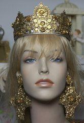1588 Baroque Gold Filigree Designer Inspired Crown Headband