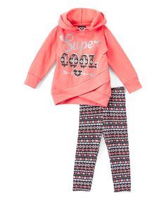 This Coral 'Super Cool' Hoodie & Leggings - Infant, Toddler & Girls by Real Love is perfect! #zulilyfinds