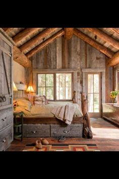 Country home-Scotty really wants one room to be out of old barn siding this looks cool!