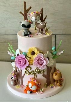 Discover recipes, home ideas, style inspiration and other ideas to try. Cute Cakes, Pretty Cakes, Beautiful Cakes, Baby Birthday Cakes, Baby Girl Cakes, Woodland Cake, Celebration Cakes, Themed Cakes, Baby Shower Cakes