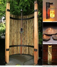 Outdoor bamboo shower for the beach house!