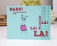 Bark! The Herald Angels Sing Card by Ashley Cannon Newell for Papertrey Ink (October 2013)