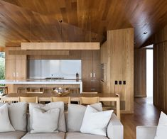 Inside an angular cedar beach house nestled into the Hahei sand dunes House 2, House Rooms, Inside Home, Modern Architecture House, Kitchen Layout, Living Area, Home Kitchens, Beach House, Cool Designs