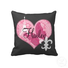 French Elements-A pink and white damask heart with an Eiffel Tower silhouette and white lattice fleur-de-lis. Complete this custom design by adding your desired name.