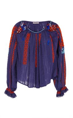 Mila Peasant Embroidered Blouse by ULLA JOHNSON for Preorder on Moda Operandi