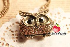 vintage owl necklace,cute!