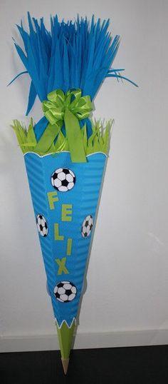 Schultüten - Bastel-Set* Schultüte *Fussball* blau-maigrün - ein Designerstück von Bastel-Shop bei DaWanda