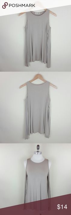 Taupe cold shoulder top Light taupe cold shoulder long sleeve top  95% rayon 5% spandex  Length 26 in Tops Tees - Long Sleeve