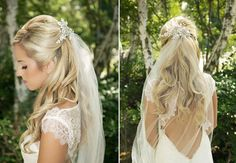 Bridal lace headpiece - looks so pretty above a simple veil! by Gilded Shadows on Etsy