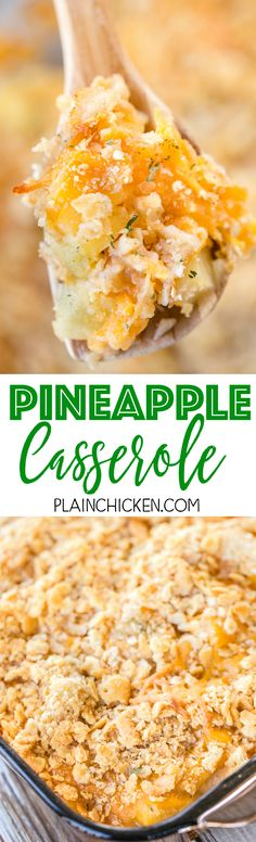 Pineapple Casserole - sounds weird, but this is THE BEST! Everyone raved about this easy casserole. Only 6 ingredients - pineapple chunks, flour, sugar, cheddar cheese, Ritz crackers, butter. SO easy and SO delicious! Great for potlucks! Everyone always asks for the recipe.