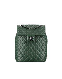 Backpack, lambskin & ruthenium metal-dark green - CHANEL