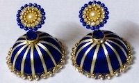 Jewellery | Silk Thread | Blue and Sandal Jhumka | CardsNCrafts