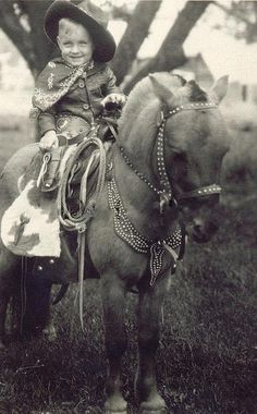 +~+~ Vintage Photograph ~+~+  Cutie blond boy on a beautifully tacked pony.