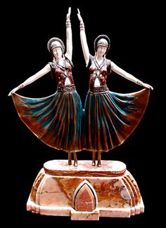 """Beautiful Art Deco Sculpture """"Dolly Sisters"""" by Demetre Chiparus"""