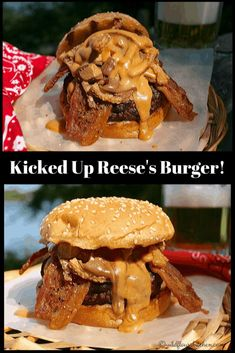 The Canadian Reese's Peanut Butter Cup Burger Kicked Up! Peanut Butter Burger, Butter Burgers, Reeses Peanut Butter, Creamy Peanut Butter, Healthy Sandwich Recipes, Burger Recipes, Beef Recipes, Snack Recipes, Picnic Recipes