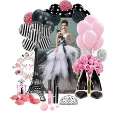 Parisian Party / A Night in Paris Sweet Fifteen Theme by quincecandles on Polyvore featuring polyvore, fashion, style, Yves Saint Laurent, Chanel, NARS Cosmetics, Guerlain, Topshop, paris and party