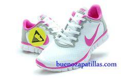 new arrivals a5935 9ad84 Mujer Nike Free 3.0 V2 Zapatillas (color   vamp - gris , en el interior y  logotipo - rosa  sole - blanco)