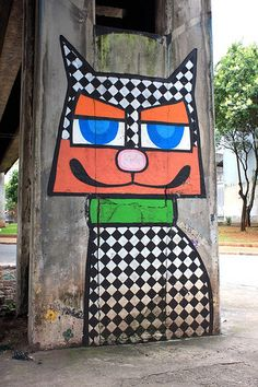Beyond Banksy Project / Minhau - São Paulo, Brazil.  I pinned this for my cousin who paints excellent abstract cats.
