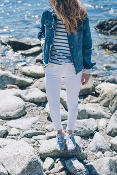 saint james stripe tee and madewell jean jacket prosecco and plaid