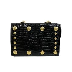 Gianni Versace Couture Black Medusa Chain Shoulder Bag From A Collection Of Rare Vintage