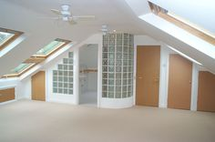 Attic conversion for bedroom with en suite. Like the glass block wall LMW Attic Loft, Loft Room, Bedroom Loft, Attic Renovation, Attic Remodel, Ideas Baños, Loft Storage, Loft Bathroom, Attic Conversion